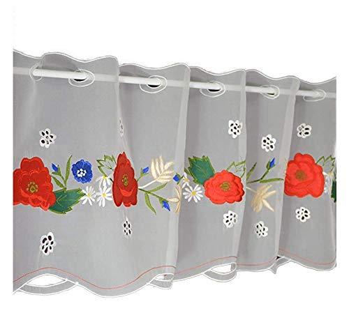 Hossner Scheibengardine Mohnblume Bistrogardine Kurzstore Cafehausgardine Voile Bestickt Landhaus Shabby 50/150 cm weiß-rot