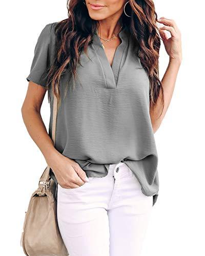 Allimy - Camisa de gasa, con cuello en V, estilo informal, holgada, estilo túnica, de manga corta, de verano, para mujer, Suave, L