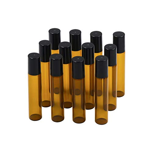 10 ml Leer Glas Roll-on Flaschen mit Edelstahl-Roller Kugeln und 10ml 12 Stück