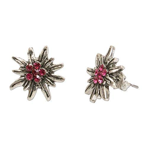 Alpenflüstern Trachten-Ohrstecker Strass-Edelweiß mini - Damen-Trachtenschmuck, Trachten-Ohrringe antik-silber-farben mit Strass-Steinen pink-fuchsia DOR033