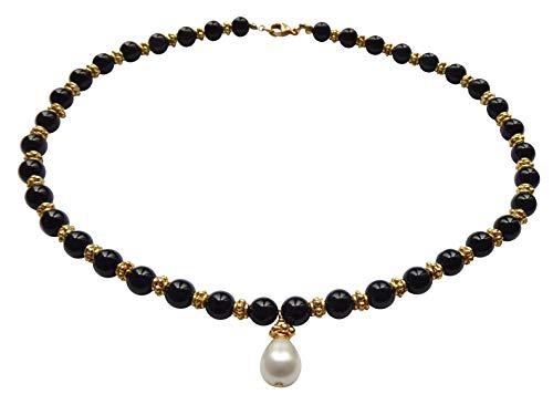Collar negro con piedras de ónix y perlas de agua dulce, cadena de perlas de plata chapada en oro, hecho a mano, pieza única italiana, aspecto antiguo, vintage, regalo de alta calidad