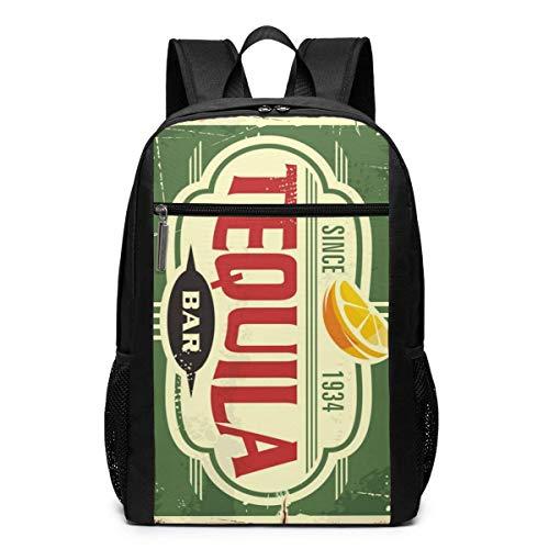 Qfunny Tequila Bar Vintage Blechschild für mexikanische Tradition Fashion Student Outdoor Rucksack 17in Teens Bookbags Reisen Laptop College Business Daypack Schultasche Schultasche für Männer Frauen