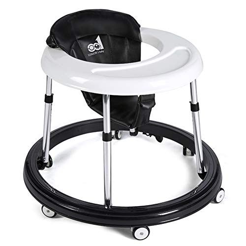 Adjustable Baby Walkers for Baby with Easy Clean Tray & Double Brakes, Six Universal Wheeled Walker, Anti-Rollover Folding Walker for Girls&Boys 6-18Months Toddler (Black&White)