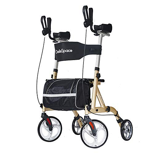 OasisSpace Narrow Lightweight Upright Walker, Stand Up Rollator Walker with Arm Rests Support Up to 300lbs (Champagne)