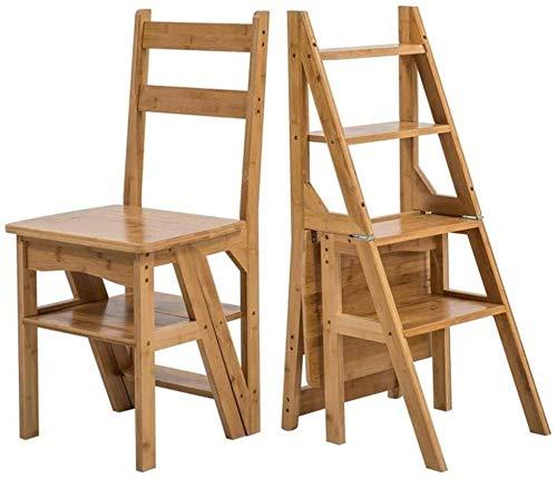ZHPBHD Stap kruk Massief hout Multifunctionele Huishoudelijke Vouwladder Indoor Oplopend Ladder Stoel Dual-use Vierstaps Ladder Bamboe Stap Ladder 35x37x91cm Stap kruk (Kleur: Houtkleur)