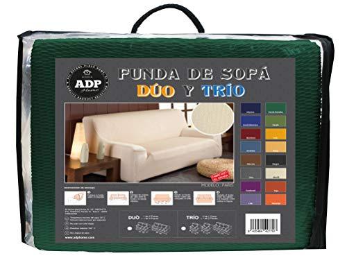 ADP Home - DÚO de Fundas/Protectores de Sofá de Alta Elasticidad: 1 Funda de 2 Plazas (de 120 a 190 cm) +1 Funda de 3 Plazas (de 180 a 240 cm), Verde Botella