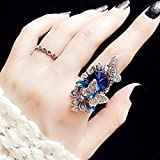Sinwo Women Fashion Ring Exquisite Sapphire & Amethyst Inlay Butterfly Wedding Ring Band Ring Gift (Two - Piece) (Blue, 10)