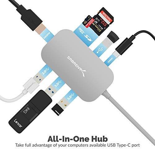 Sabrent 8 in 1 USB Typ C Hub mit HDMI (4K) Ausgang, 3 USB 3.0-Anschlüssen, 1 USB 2.0-Anschluss, SD/MicroSD-Kartenleser [Unterstützt 4K und Stromversorgung] (DS-UHCR)