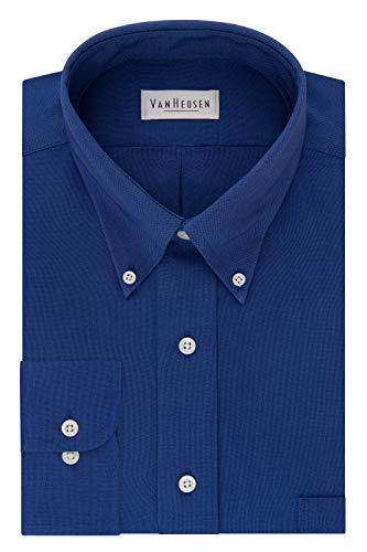Van Heusen Men's Regular Fit Oxford Button Down Collar Dress Shirt, English Blue, XX-Large
