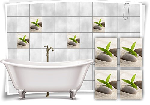 Medianlux Fliesenaufkleber Fliesenbild Zen Steine Sand Bambus Wellness SPA Aufkleber Sticker Deko Bad WC, 15x20cm