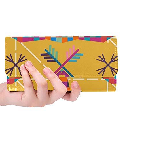 JOCHUAN Einzigartige benutzerdefinierte tierkopf elefanten dreieckige pixel icon frauen trifold brieftasche lange geldbörse kreditkarteninhaber fall handtasche