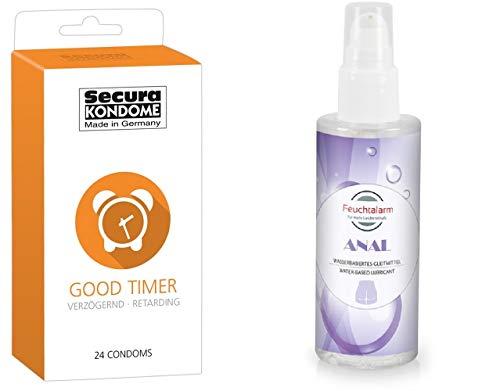 Kondom - Kondome - Condome für längerer Sex - mit Benzocain - auf Silikonbasis - 24 sehr gute Kondome und 100 ml Feuchtalarm Gleitgel