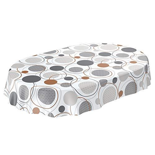 Anro - Tovaglia cerata lavabile, Tela cerata., Geometria cerchi, grigio bianco, Oval 140 x 240cm Schnittkante