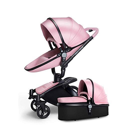 ZUQIEE Cochecito de bebé de la Cuna de Transporte Combinado de 360 Rotación 2-en-1 Resistente a los Golpes Paisaje de la Alta Cochecito Cochecito for el Recién Nacido y el Niño, Brown
