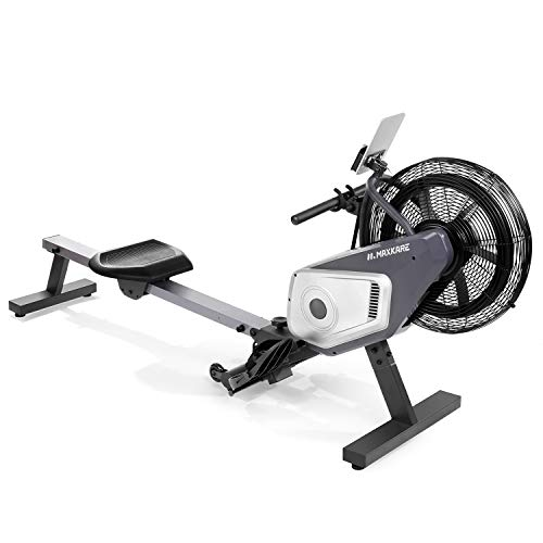 MaxKare Rowing Machine Air Rower Dual Belt Dynamic Air Resistance with LCD Monitor for Home Use Huge Challenging Resistance Unadjustable For Senior Rower User