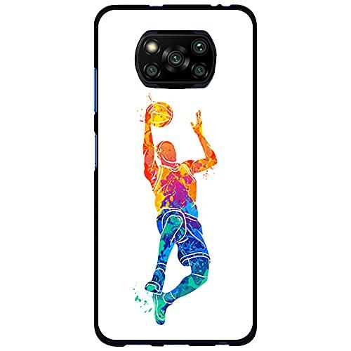 Funda Negra para [ Xiaomi Poco X3 / Poco X3 Pro ], Carcasa de Silicona Flexible TPU, diseño : Jugador Baloncesto encestando la Pelota