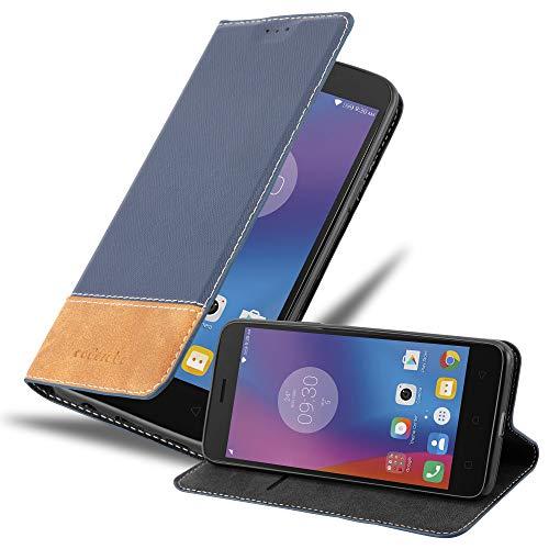 Cadorabo Hülle für Lenovo K6 in DUNKEL BLAU BRAUN - Handyhülle mit Magnetverschluss, Standfunktion & Kartenfach - Hülle Cover Schutzhülle Etui Tasche Book Klapp Style