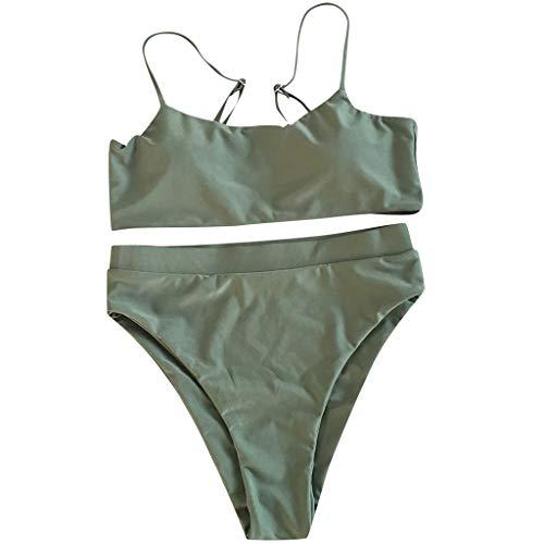 Sayhi Sexy Women Bandeau Bandage Bathing Suits Bikini Set Push-Up Padded Swimwear Set Girls Brazilian Swimsuit(Green,XL)