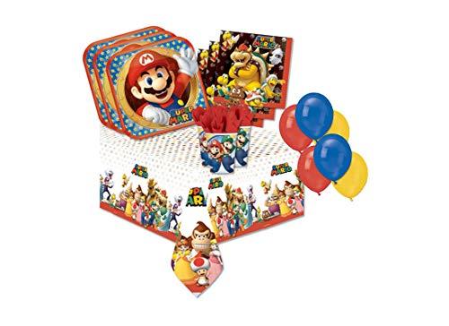 Gemma International IRPot - Kit N4 293 PZ Compleanno Festa Super Mario Bros +100 Palloncini