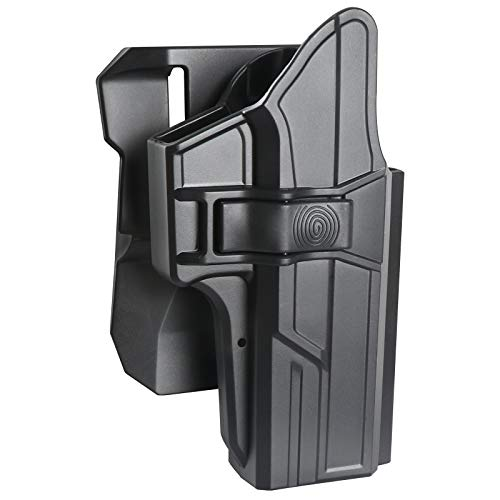 OWB Paddle Holster for Glock 17 22 31, 360° Free Adjust Open Belt Carry Gun Holsters fit G17 G22 G22 (Gen 1-5), Automatic Lock & Index Finger Released, Outside Waistband, Right-Handed