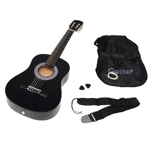 Ts-Ideen 5276 Kindergitarre Akustik Gitarre in der 1/2 Größe für ca. 6-9 Jahre mit Zubehörset (Gitarrentasche, Gurt und Ersatzsaiten) schwarz