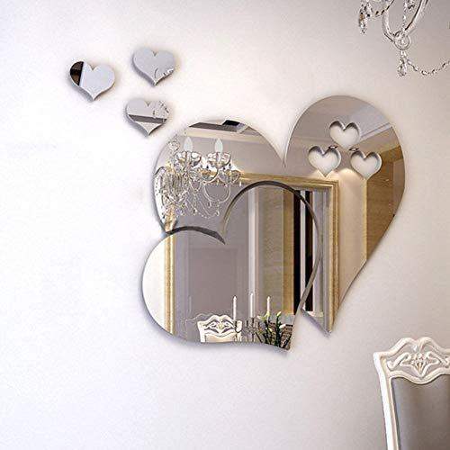 Adesivi murali specchio, cristallo 3D doppio amore cuore acrilico fai da te art decalcomanie della parete di casa soggiorno bagno tv sfondo decor, 10 pezzi   2 set(Argento)