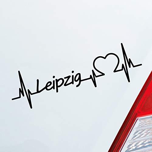Auto Aufkleber in deiner Wunschfarbe Leipzig Herz Puls Stadt City Sticker Liebe Love ca. 19 x 6 cm Autoaufkleber Sticker