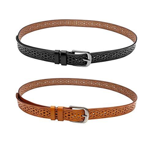 CHIC DIARY Cinturón de piel de vacuno para mujer con diseño de flores, vintage, estrecho, cintura Negro + camel Talla única