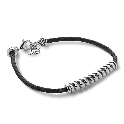 American West Sterling Silver Black Braided Leather Rope Bar Bracelet Size Small