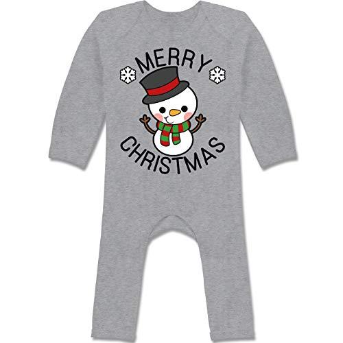 Shirtracer Weihnachten Baby - Merry Christmas mit Schneemann - schwarz - 12/18 Monate...