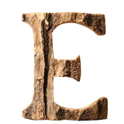 BIGBOBA Hölzerne Buchstaben A-Z & 0-9 Retro DIY Dekoration für Hauptcafé-Bekleidungsgeschäft-Geburtstags-Party-Hochzeits-kakifarbiges, Heigh 10CM (E)