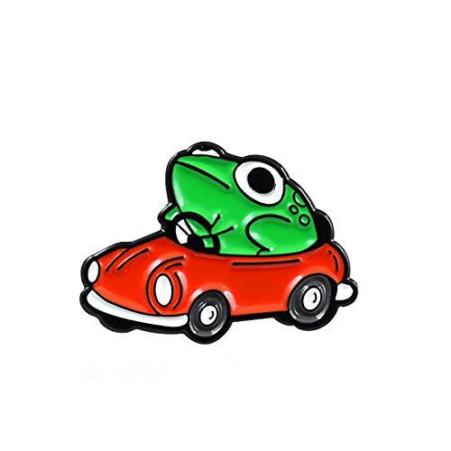 Nueva caricatura de rana verde, broche de coche abierto, Pin creativo de moda para niños, bolsa de dibujos animados, mochila, insignia, joyería