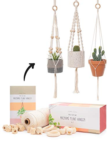 Macrame Kit - Makes 3 Macrame Plant Hangers with Easy to Follow Instructions for...