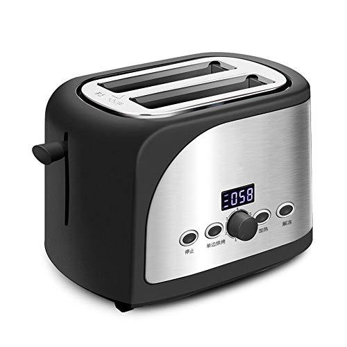 NAFE Edelstahl-Brotbackautomat, Elektro- / Toaster-Kuchen-Toast-Sandwich-Ofen-Grill 2 Scheiben Automatische Frühstücksbackmaschine EU-Black