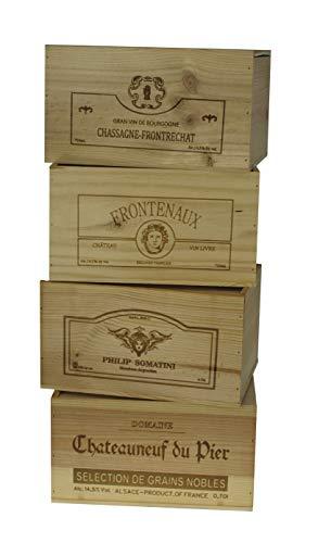 ZonaWine - Lote 4 Cajas/6 Botellas Vino en Madera-Logos Variados. Alto 19-26-35 cm Fondo.