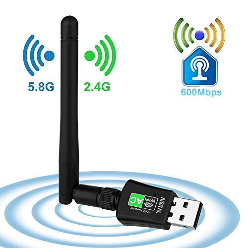 WLAN Stick WiFi Adapter 600Mbps mit 5dBi Antenna Mini Dual Band 2.4GHz/5GHz Wireless USB Empfänger 802.11ac/n/g/b Netzwerk Dongles,für PC,Windows XP/7/8/10/Vista/TV Box Keine CD benötigt Plug & Play