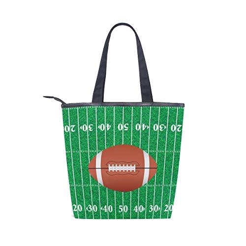 BKEOY Große Handtasche Umhängetasche American Football Field Print Tote Zipper Shopper
