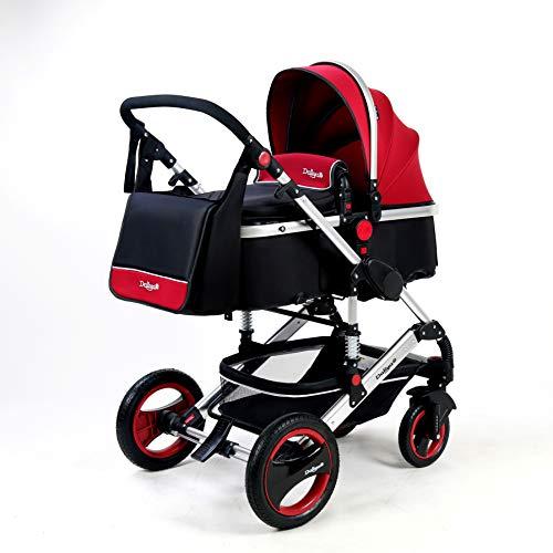 Daliya Bambimo 3 in 1 Kinderwagen - Kombikinderwagen Riesenset 14-Teilig incl. Babywanne & Buggy & Auto-Babyschale - Alu-Rahmen/Voll-Gummireifen - Wickeltasche/Regenschutz/ (Bordeaux-Rot-Silber)