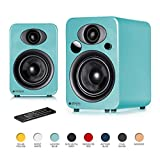 Steljes Audio NS3 Powered Loud Speakers Bookshelf Stereo System 45W RMS 60Hz to 20kHz British Design Connect RCA, 3.5mm Stereo, Optical, Bluetooth, with Built-in Subwoofer USB Charge (Lagoon Blue)