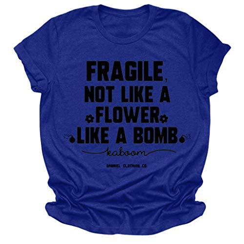 Berimaterry Damen T-Shirt Casual Lose Briefdruck Kurzarm Shirt Tops Basic Rundhals Große Größen Hemd Sommershirt Mode Print Tunika Bluse