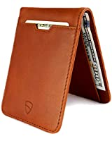 Vaultskin MANHATTAN Slim Bifold Wallet with RFID Protection for Cards and Cash – Top Quality Italian Leather - Ultra Thin Front Pocket Holder Designed for up to 9 Cards and Cash (Cognac)