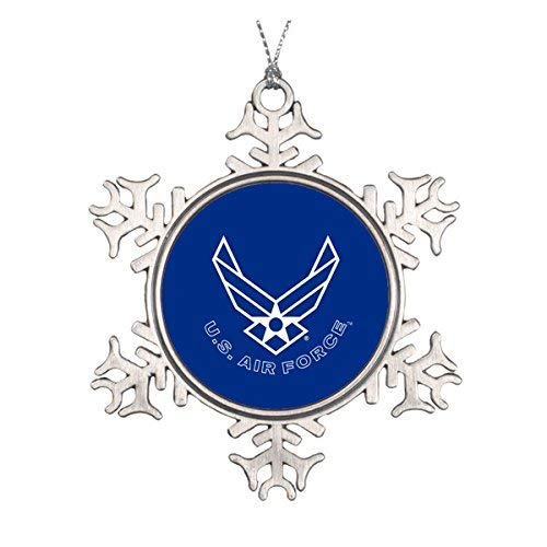 Delia32Agnes Blue Air Force Logo & Name with Outline Christmas Ornaments Pewter Snowflake Ornaments for Christmas Decoration
