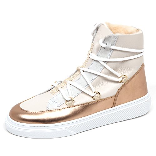 Hogan E4462 Sneaker Donna Ivory/Bronze H342 Inside eco fur/Leather Shoe Woman [36]