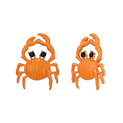 EVER FAITH Pendientes de cangrejo para mujer, esmalte negro, tema náutico, animales marinos, joyas para mujeres y niñas, Cristal, Crystal,