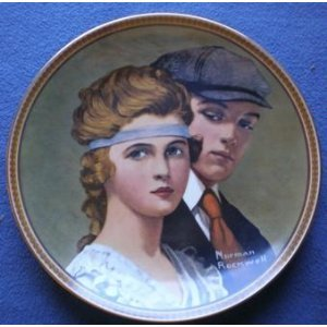 Normal Rockwell Meeting on the path collectible plate Knowles 1984 10th plate in rockwell's rediscovered women collection