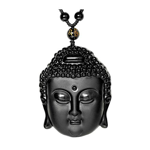 Top Plaza Hand Carved Natural Genuine Obsidian Talisman Patron Saint Buddha Head Pendant Adjustable Woven Rope Beads Necklace Amulet Hanging Ornament #1