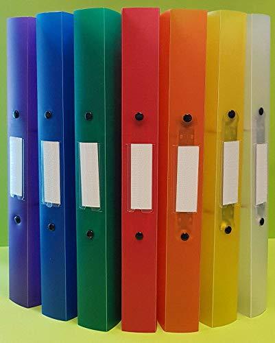 7 x A4 Ringordner, Ringbuch Ordner mit 2 Ringen 25mm (Rückenbreite 34mm) PP, farblich sortiert, transparent