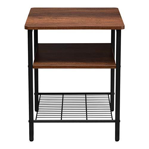 BEJOY Side Table End Table for Bed Sofa Bedside Table with Metal Frame Storage Shelves for Kitchen, Living room, Bedroom, Office