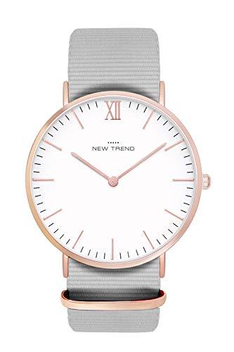 New Trend Unisex Armbanduhr Grau mit römischer Ziffer, Rosegold Damen-Uhr, Herren-Uhr, Nylon-Armband, Edelstahl-Metall-Armband, Textil-Armband, Stoff-Armband, NATO-Armband