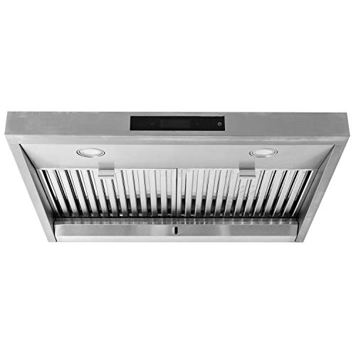 MONARCHY 30 Under Cabinet Kitchen Range Hood Top Ducted Exhaust Vent with Contemporary Stainless Steel Design with 950 CFM Dual Motors, Touchscreen Interface and Dimmable LED Lamps